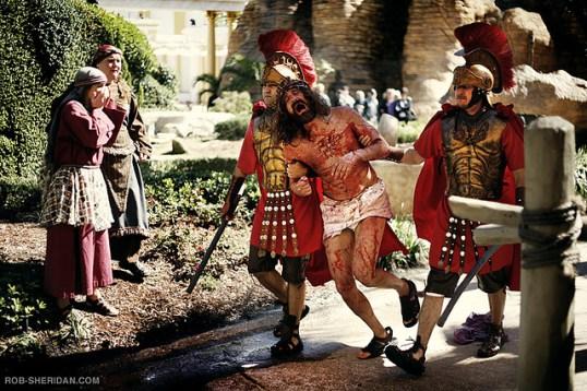 Romans dragging Jesus by Rob Sheridan